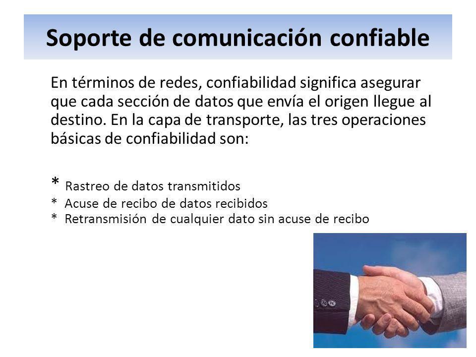Soporte de comunicación confiable En términos de redes, confiabilidad significa asegurar que cada sección de datos que envía el origen llegue al desti