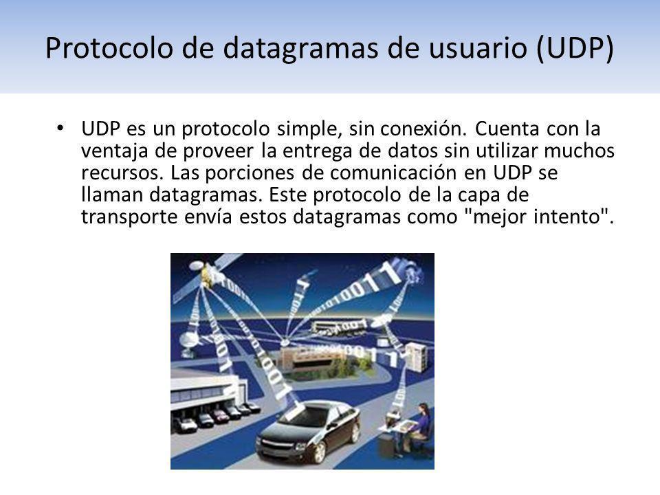 Protocolo de datagramas de usuario (UDP) UDP es un protocolo simple, sin conexión. Cuenta con la ventaja de proveer la entrega de datos sin utilizar m