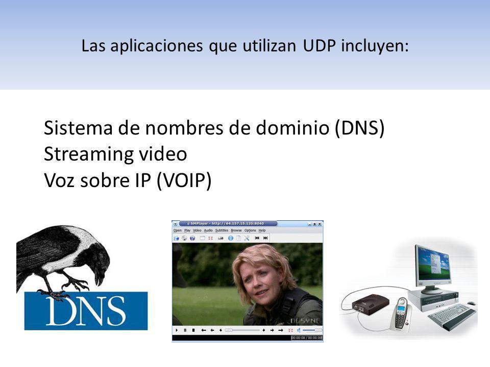 Las aplicaciones que utilizan UDP incluyen: Sistema de nombres de dominio (DNS) Streaming video Voz sobre IP (VOIP)