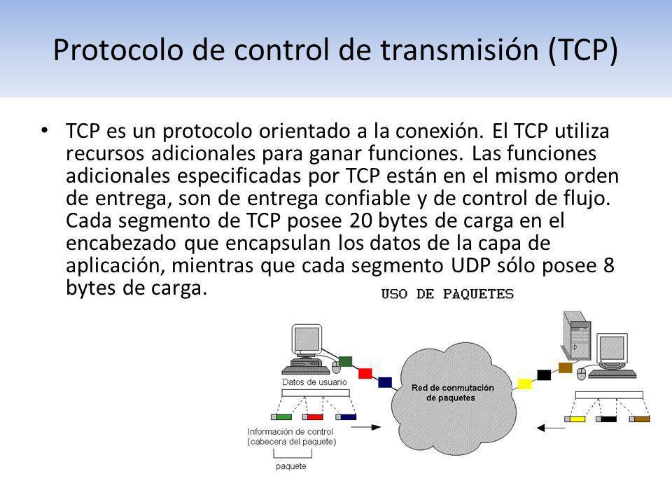 Protocolo de control de transmisión (TCP) TCP es un protocolo orientado a la conexión. El TCP utiliza recursos adicionales para ganar funciones. Las f