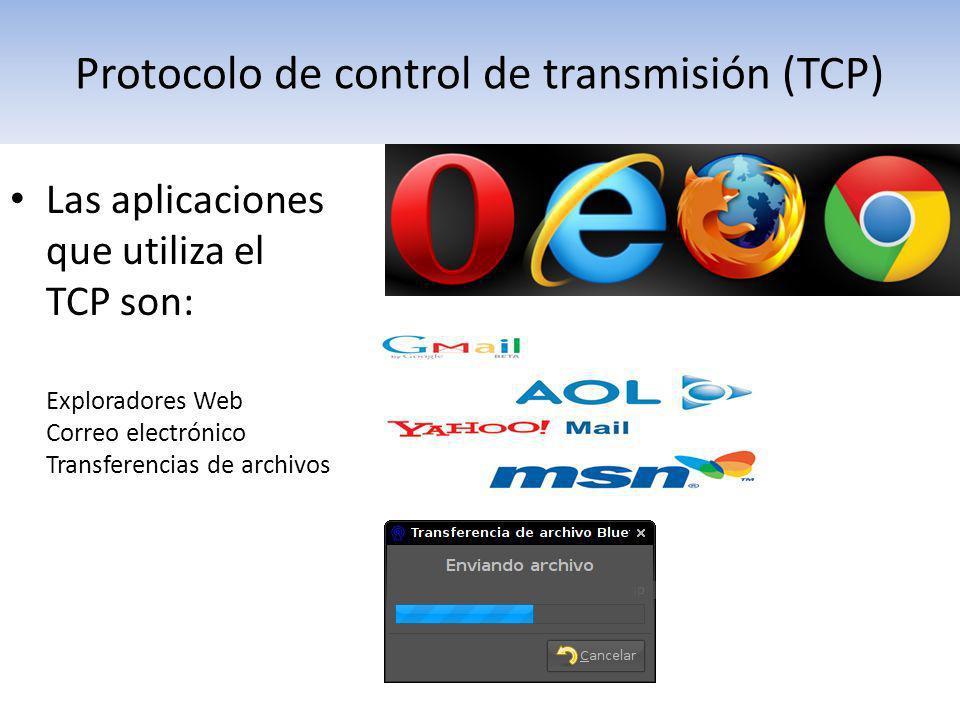 Las aplicaciones que utiliza el TCP son: Exploradores Web Correo electrónico Transferencias de archivos Protocolo de control de transmisión (TCP)