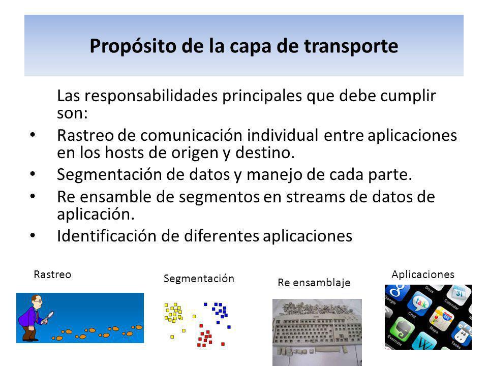 Propósito de la capa de transporte Las responsabilidades principales que debe cumplir son: Rastreo de comunicación individual entre aplicaciones en lo
