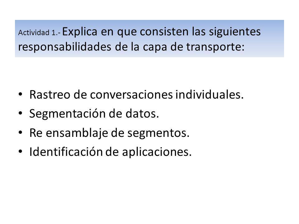 Actividad 1.- Explica en que consisten las siguientes responsabilidades de la capa de transporte: Rastreo de conversaciones individuales. Segmentación
