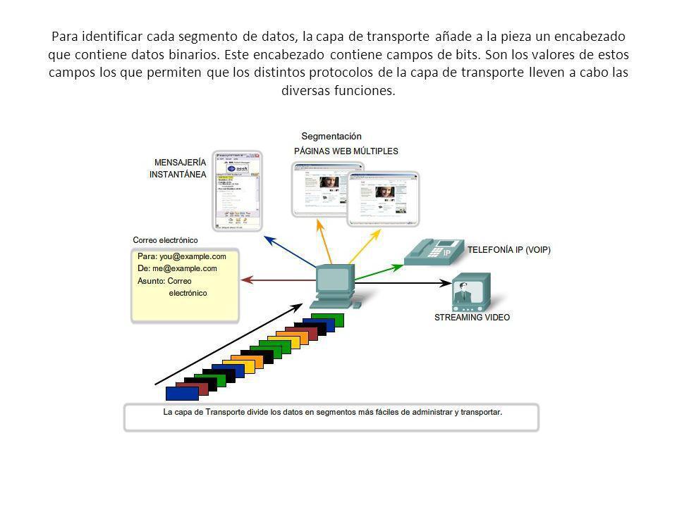 Para identificar cada segmento de datos, la capa de transporte añade a la pieza un encabezado que contiene datos binarios. Este encabezado contiene ca