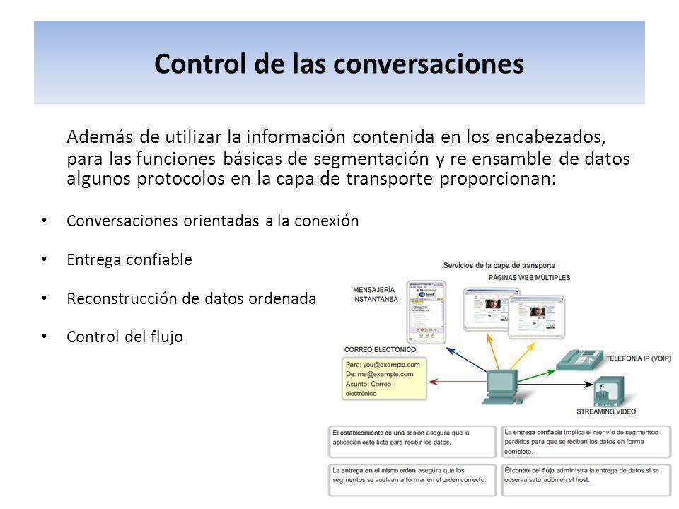 Control de las conversaciones Además de utilizar la información contenida en los encabezados, para las funciones básicas de segmentación y re ensamble