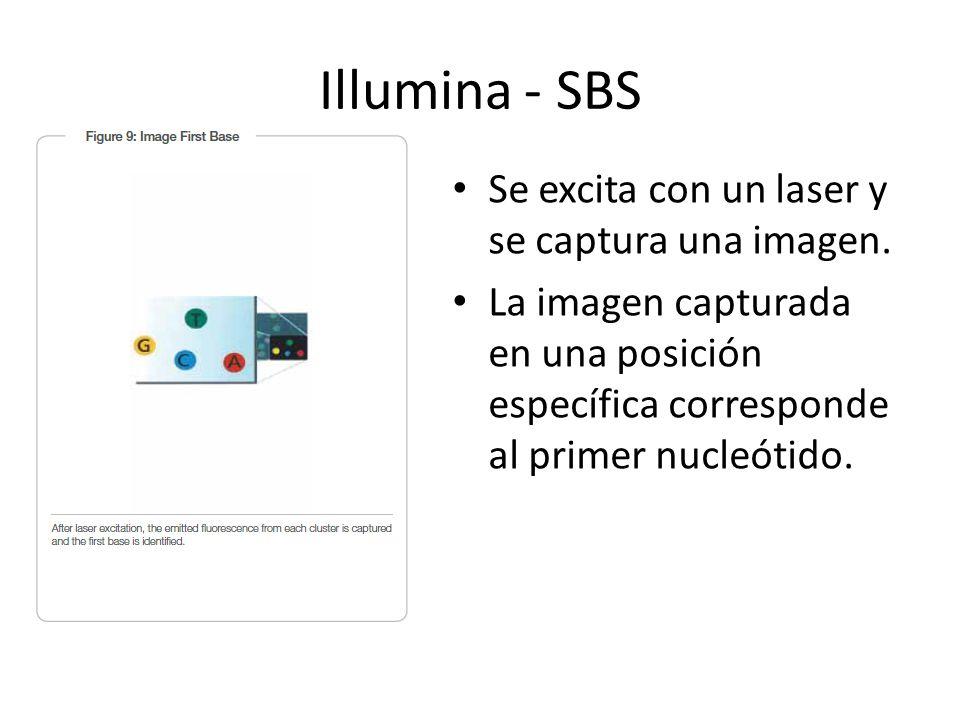Se excita con un laser y se captura una imagen. La imagen capturada en una posición específica corresponde al primer nucleótido. Illumina - SBS