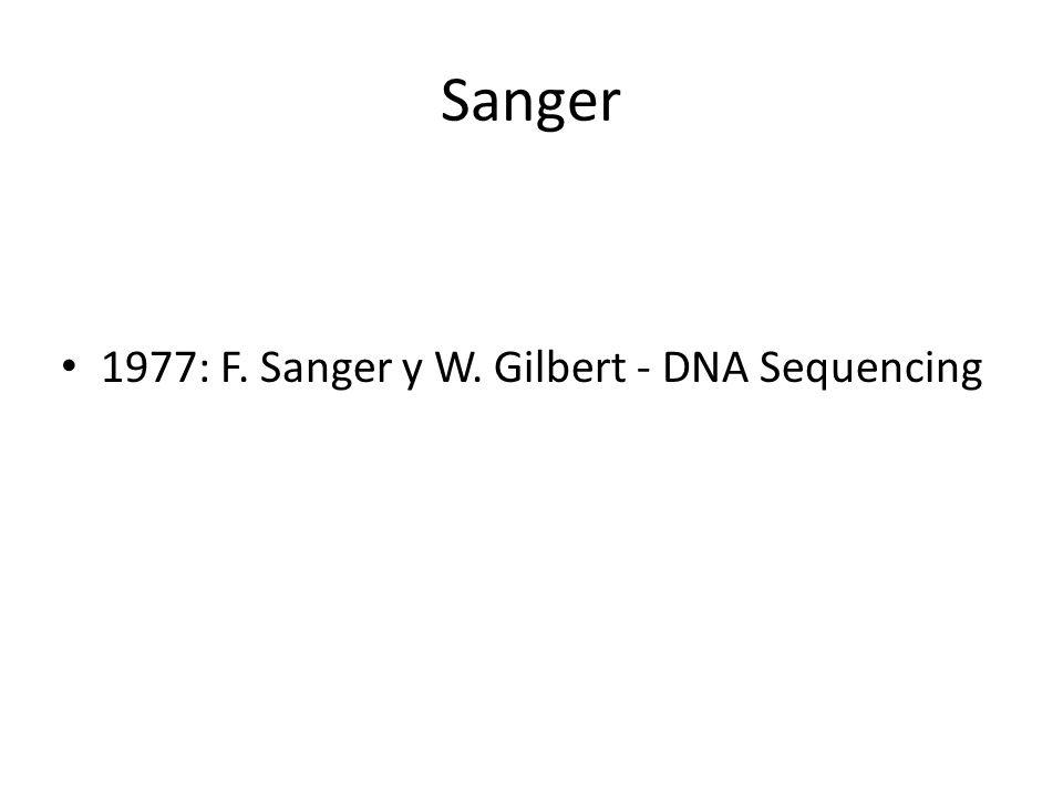 Sanger 1977: F. Sanger y W. Gilbert - DNA Sequencing