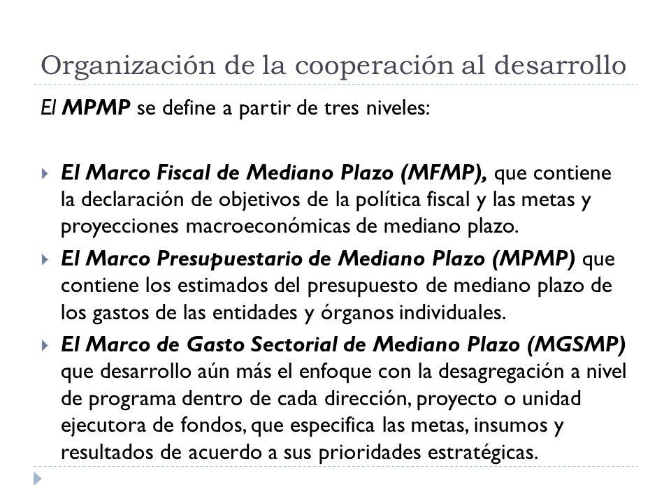 El MPMP se define a partir de tres niveles: El Marco Fiscal de Mediano Plazo (MFMP), que contiene la declaración de objetivos de la política fiscal y