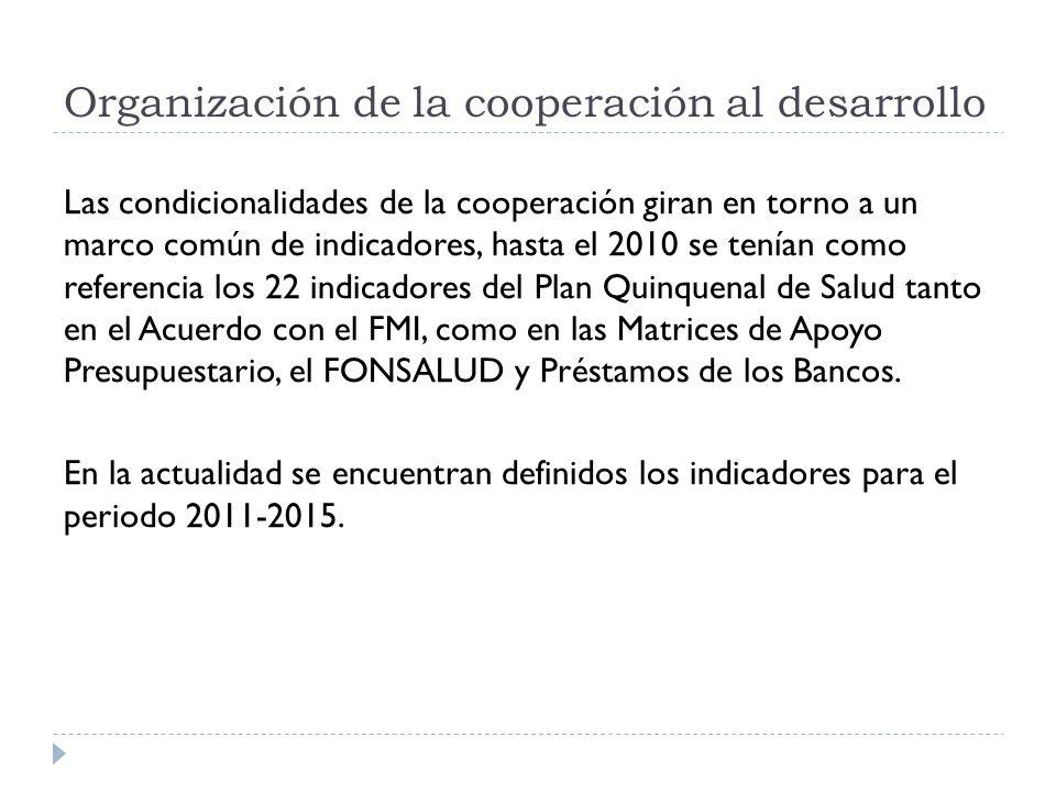 Las condicionalidades de la cooperación giran en torno a un marco común de indicadores, hasta el 2010 se tenían como referencia los 22 indicadores del