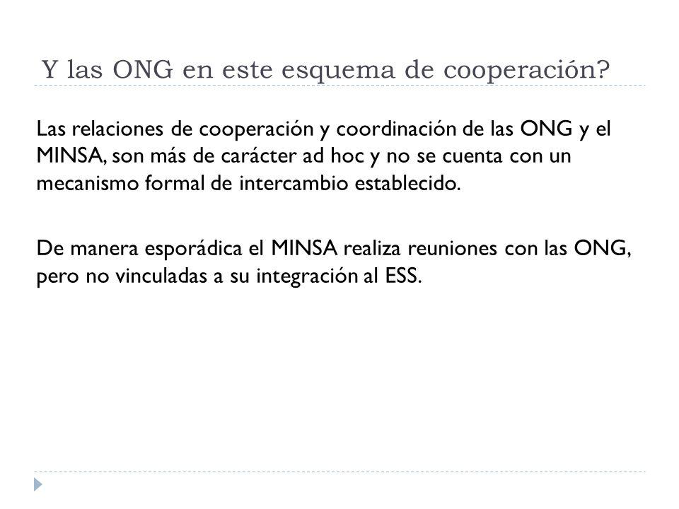 Y las ONG en este esquema de cooperación? Las relaciones de cooperación y coordinación de las ONG y el MINSA, son más de carácter ad hoc y no se cuent