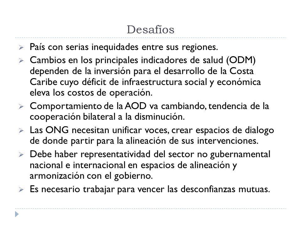 Desafíos País con serias inequidades entre sus regiones. Cambios en los principales indicadores de salud (ODM) dependen de la inversión para el desarr