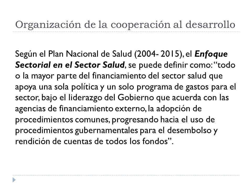 Organización de la cooperación al desarrollo Según el Plan Nacional de Salud (2004- 2015), el Enfoque Sectorial en el Sector Salud, se puede definir c