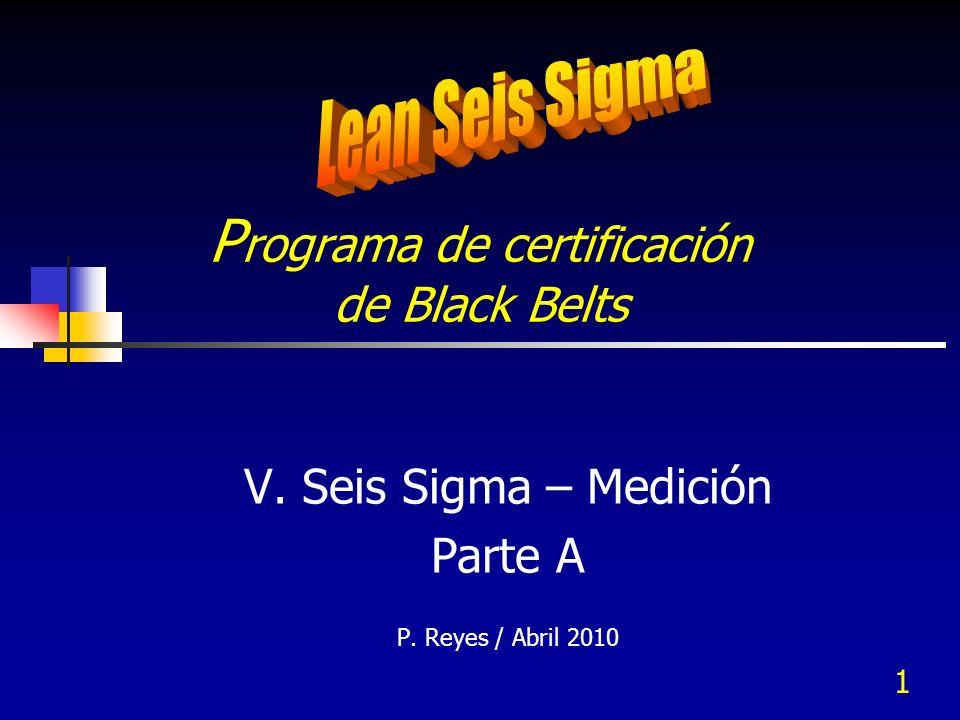1 P rograma de certificación de Black Belts V. Seis Sigma – Medición Parte A P. Reyes / Abril 2010