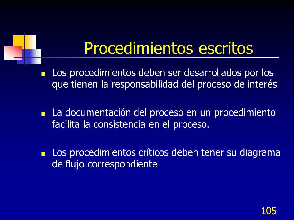105 Procedimientos escritos Los procedimientos deben ser desarrollados por los que tienen la responsabilidad del proceso de interés La documentación d