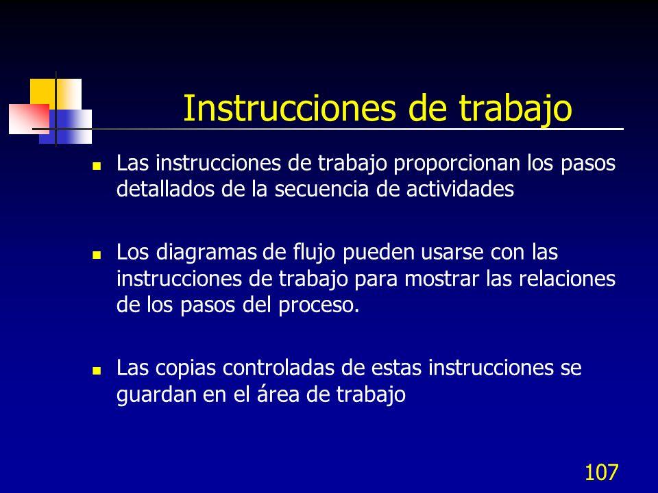 107 Instrucciones de trabajo Las instrucciones de trabajo proporcionan los pasos detallados de la secuencia de actividades Los diagramas de flujo pued