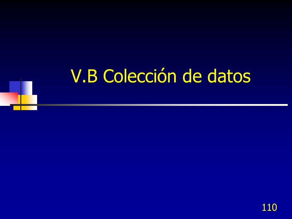 110 V.B Colección de datos