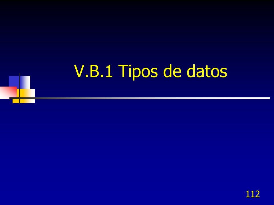 112 V.B.1 Tipos de datos