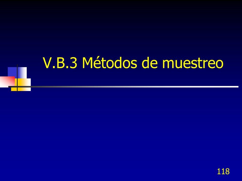 118 V.B.3 Métodos de muestreo