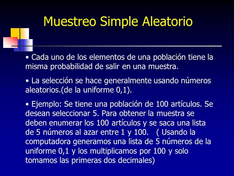 Muestreo Simple Aleatorio Cada uno de los elementos de una población tiene la misma probabilidad de salir en una muestra. La selección se hace general