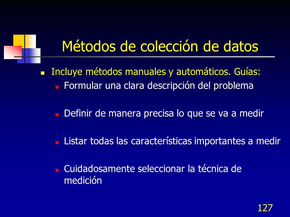 127 Métodos de colección de datos Incluye métodos manuales y automáticos. Guías: Formular una clara descripción del problema Definir de manera precisa
