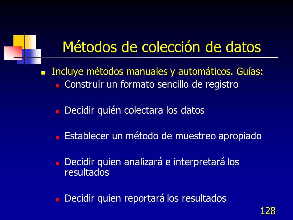 128 Métodos de colección de datos Incluye métodos manuales y automáticos. Guías: Construir un formato sencillo de registro Decidir quién colectara los