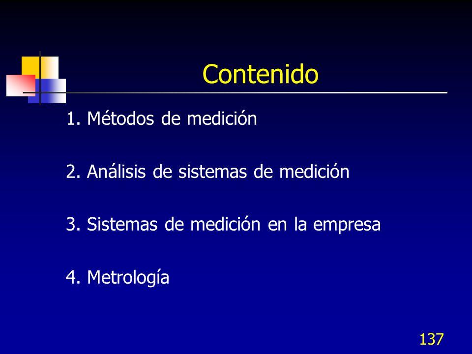 137 Contenido 1. Métodos de medición 2. Análisis de sistemas de medición 3. Sistemas de medición en la empresa 4. Metrología