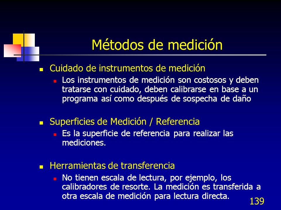 139 Métodos de medición Cuidado de instrumentos de medición Los instrumentos de medición son costosos y deben tratarse con cuidado, deben calibrarse e