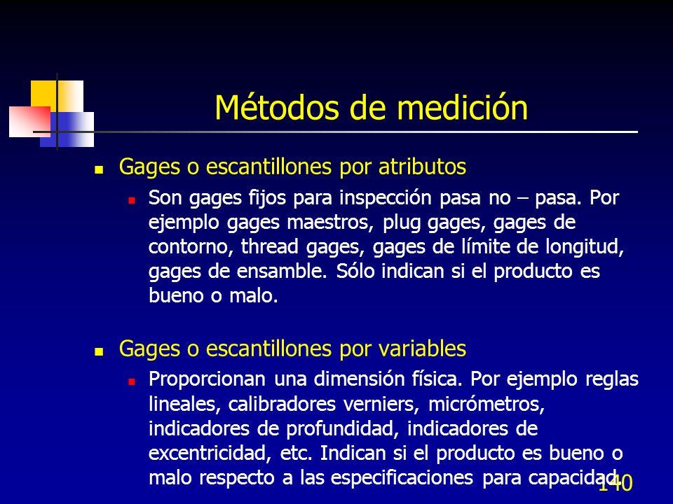 140 Métodos de medición Gages o escantillones por atributos Son gages fijos para inspección pasa no – pasa. Por ejemplo gages maestros, plug gages, ga