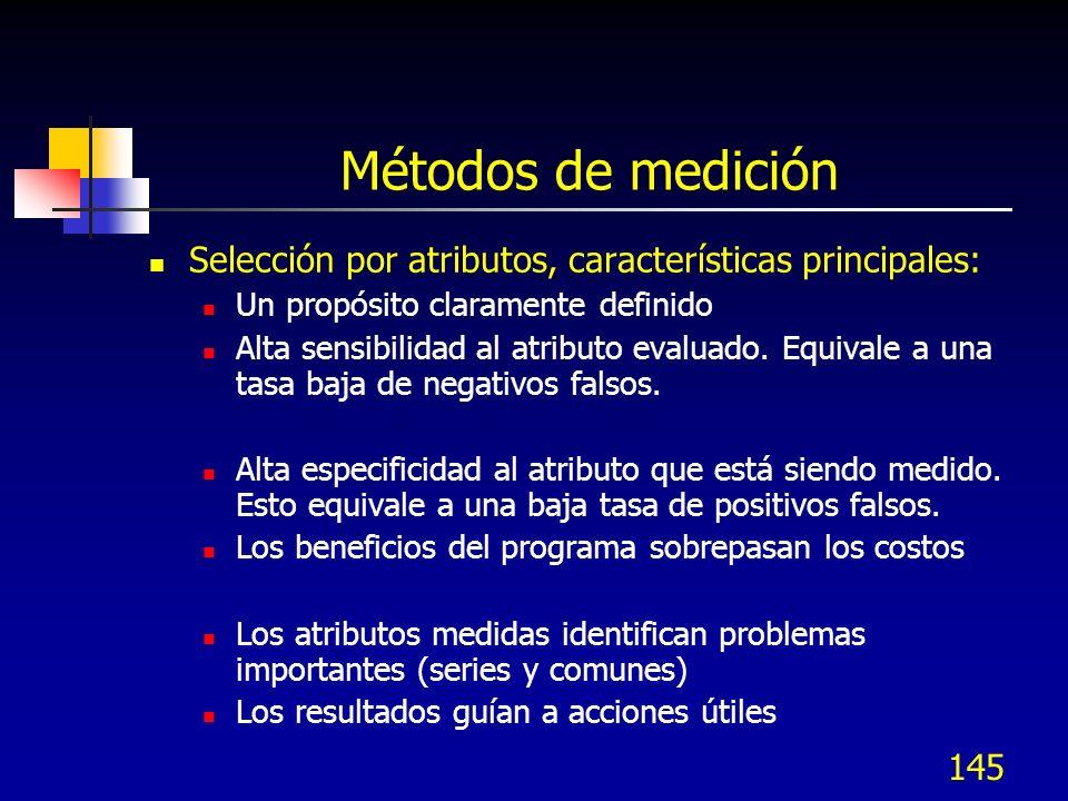 145 Métodos de medición Selección por atributos, características principales: Un propósito claramente definido Alta sensibilidad al atributo evaluado.