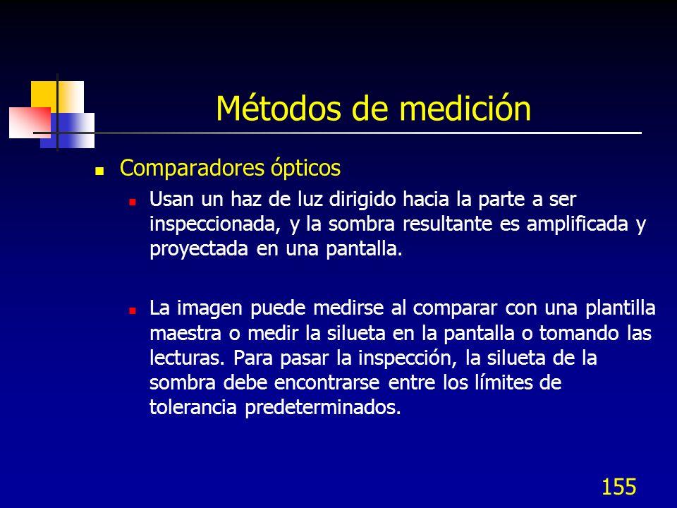 155 Métodos de medición Comparadores ópticos Usan un haz de luz dirigido hacia la parte a ser inspeccionada, y la sombra resultante es amplificada y p