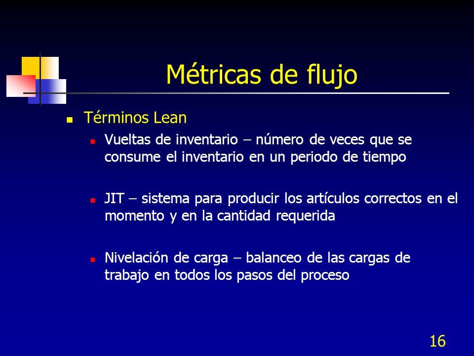 16 Métricas de flujo Términos Lean Vueltas de inventario – número de veces que se consume el inventario en un periodo de tiempo JIT – sistema para pro