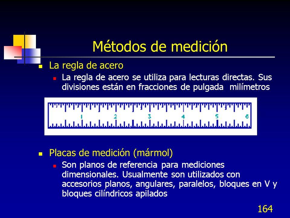 164 Métodos de medición La regla de acero La regla de acero se utiliza para lecturas directas. Sus divisiones están en fracciones de pulgada milímetro