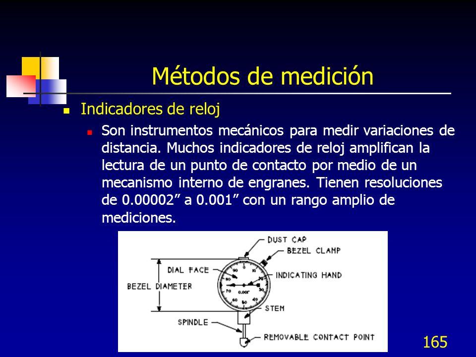 165 Métodos de medición Indicadores de reloj Son instrumentos mecánicos para medir variaciones de distancia. Muchos indicadores de reloj amplifican la