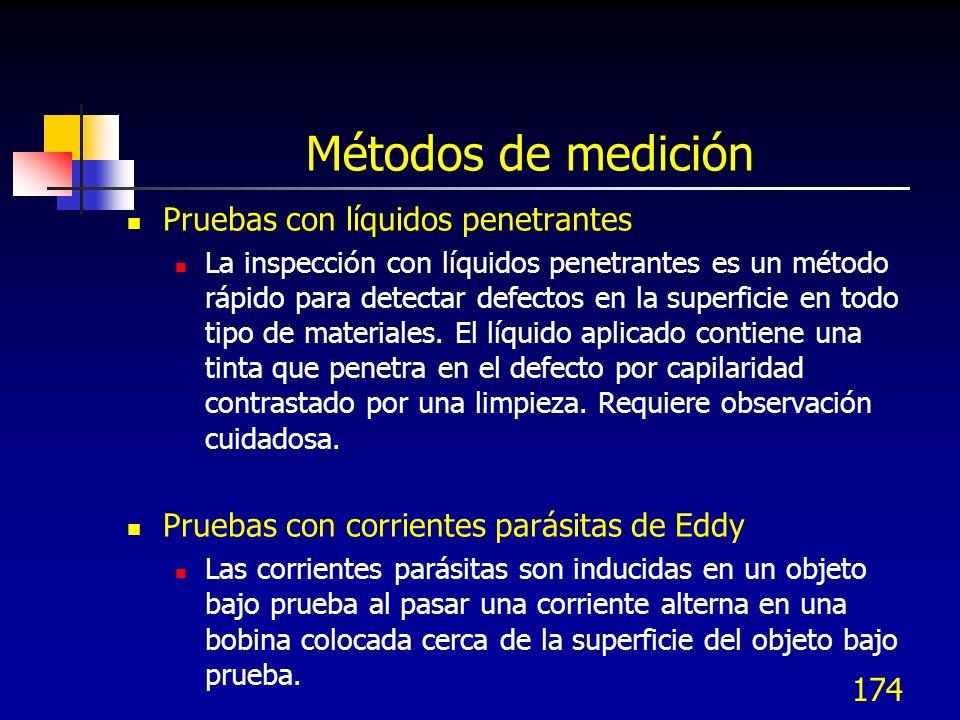 174 Métodos de medición Pruebas con líquidos penetrantes La inspección con líquidos penetrantes es un método rápido para detectar defectos en la super