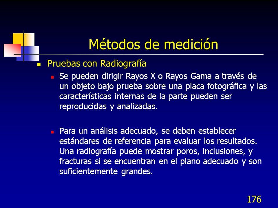 176 Métodos de medición Pruebas con Radiografía Se pueden dirigir Rayos X o Rayos Gama a través de un objeto bajo prueba sobre una placa fotográfica y