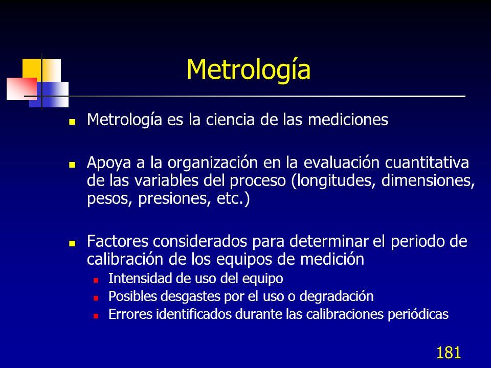 181 Metrología Metrología es la ciencia de las mediciones Apoya a la organización en la evaluación cuantitativa de las variables del proceso (longitud