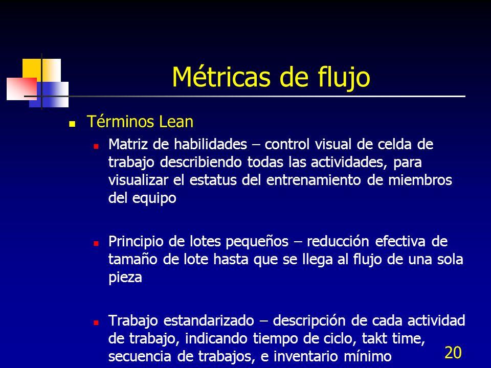 20 Métricas de flujo Términos Lean Matriz de habilidades – control visual de celda de trabajo describiendo todas las actividades, para visualizar el e