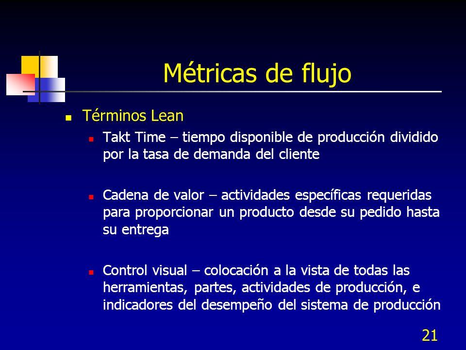 21 Métricas de flujo Términos Lean Takt Time – tiempo disponible de producción dividido por la tasa de demanda del cliente Cadena de valor – actividad