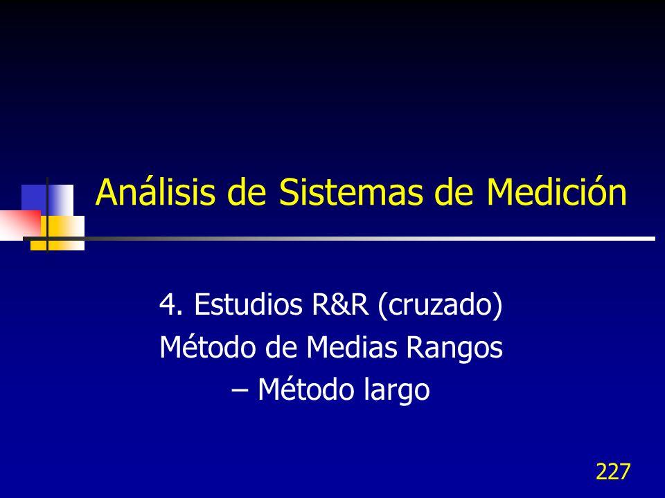 227 Análisis de Sistemas de Medición 4. Estudios R&R (cruzado) Método de Medias Rangos – Método largo