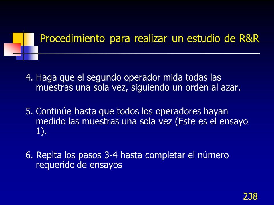 238 Procedimiento para realizar un estudio de R&R 4.Haga que el segundo operador mida todas las muestras una sola vez, siguiendo un orden al azar. 5.C