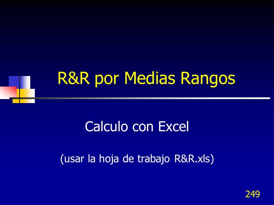 249 R&R por Medias Rangos Calculo con Excel (usar la hoja de trabajo R&R.xls)