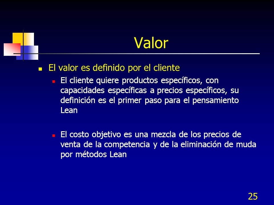 25 Valor El valor es definido por el cliente El cliente quiere productos específicos, con capacidades específicas a precios específicos, su definición