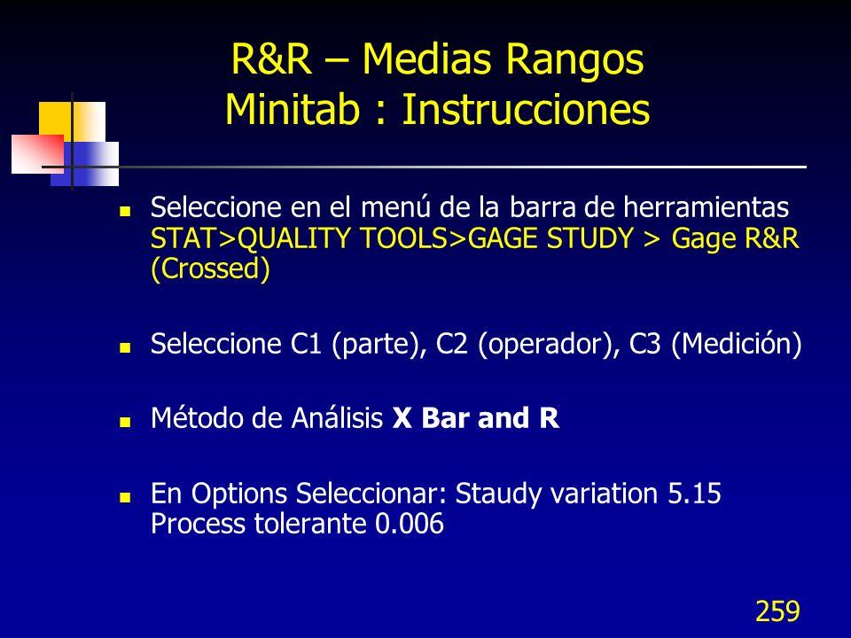 259 R&R – Medias Rangos Minitab : Instrucciones Seleccione en el menú de la barra de herramientas STAT>QUALITY TOOLS>GAGE STUDY > Gage R&R (Crossed) S