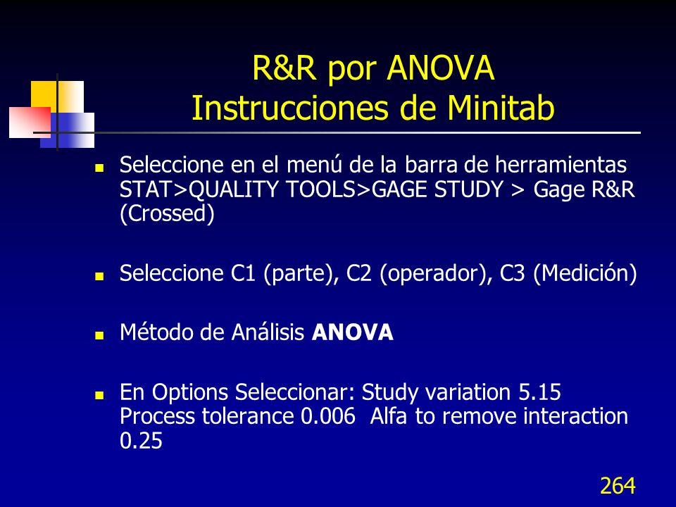 264 R&R por ANOVA Instrucciones de Minitab Seleccione en el menú de la barra de herramientas STAT>QUALITY TOOLS>GAGE STUDY > Gage R&R (Crossed) Selecc