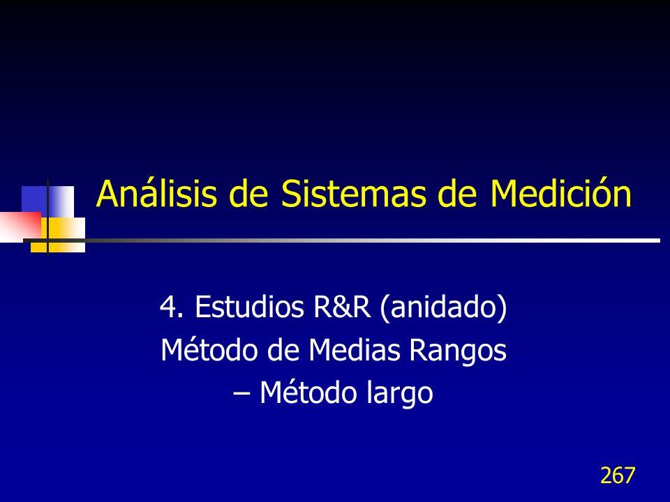 267 Análisis de Sistemas de Medición 4. Estudios R&R (anidado) Método de Medias Rangos – Método largo