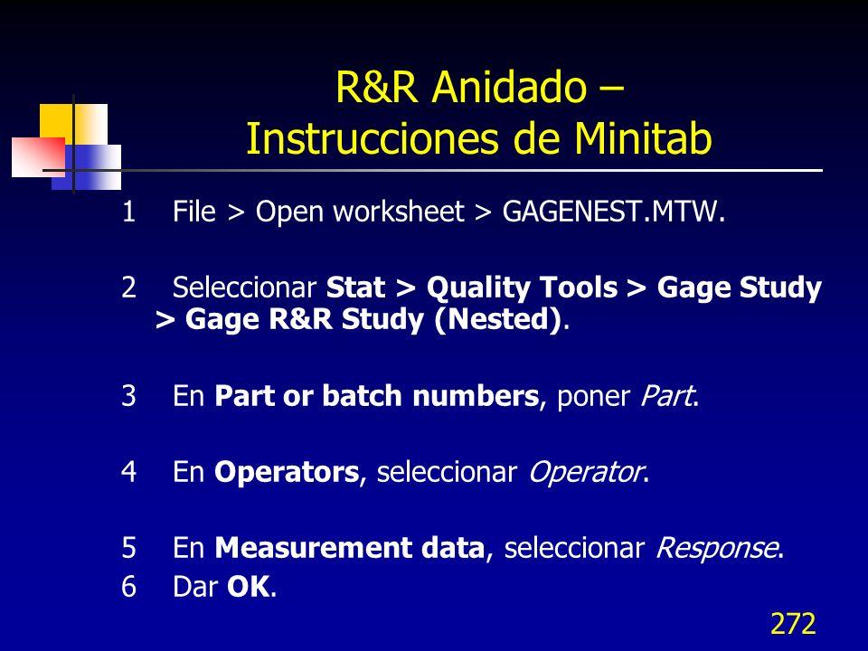 272 R&R Anidado – Instrucciones de Minitab 1 File > Open worksheet > GAGENEST.MTW. 2 Seleccionar Stat > Quality Tools > Gage Study > Gage R&R Study (N