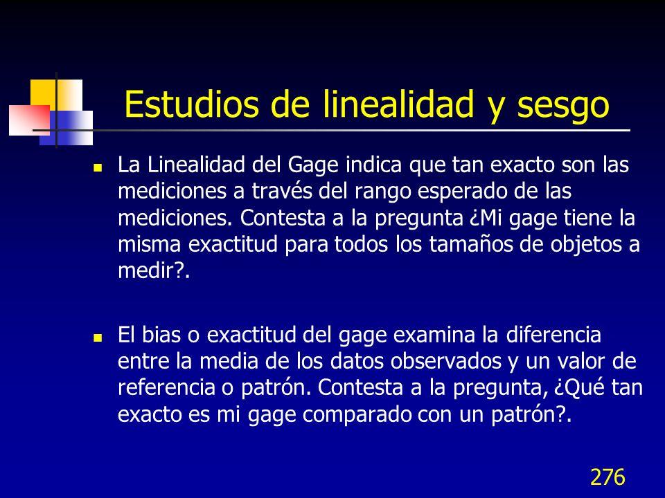 276 Estudios de linealidad y sesgo La Linealidad del Gage indica que tan exacto son las mediciones a través del rango esperado de las mediciones. Cont