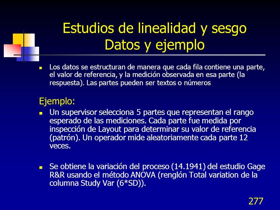 277 Estudios de linealidad y sesgo Datos y ejemplo Los datos se estructuran de manera que cada fila contiene una parte, el valor de referencia, y la m