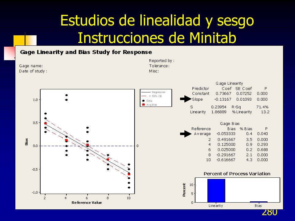 280 Estudios de linealidad y sesgo Instrucciones de Minitab
