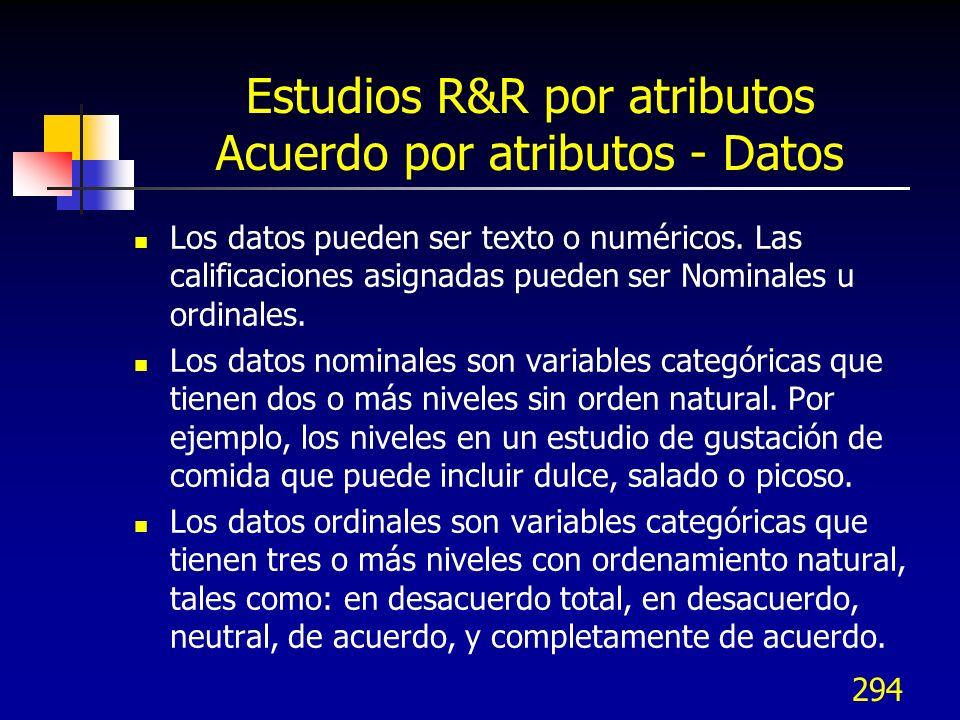 294 Estudios R&R por atributos Acuerdo por atributos - Datos Los datos pueden ser texto o numéricos. Las calificaciones asignadas pueden ser Nominales